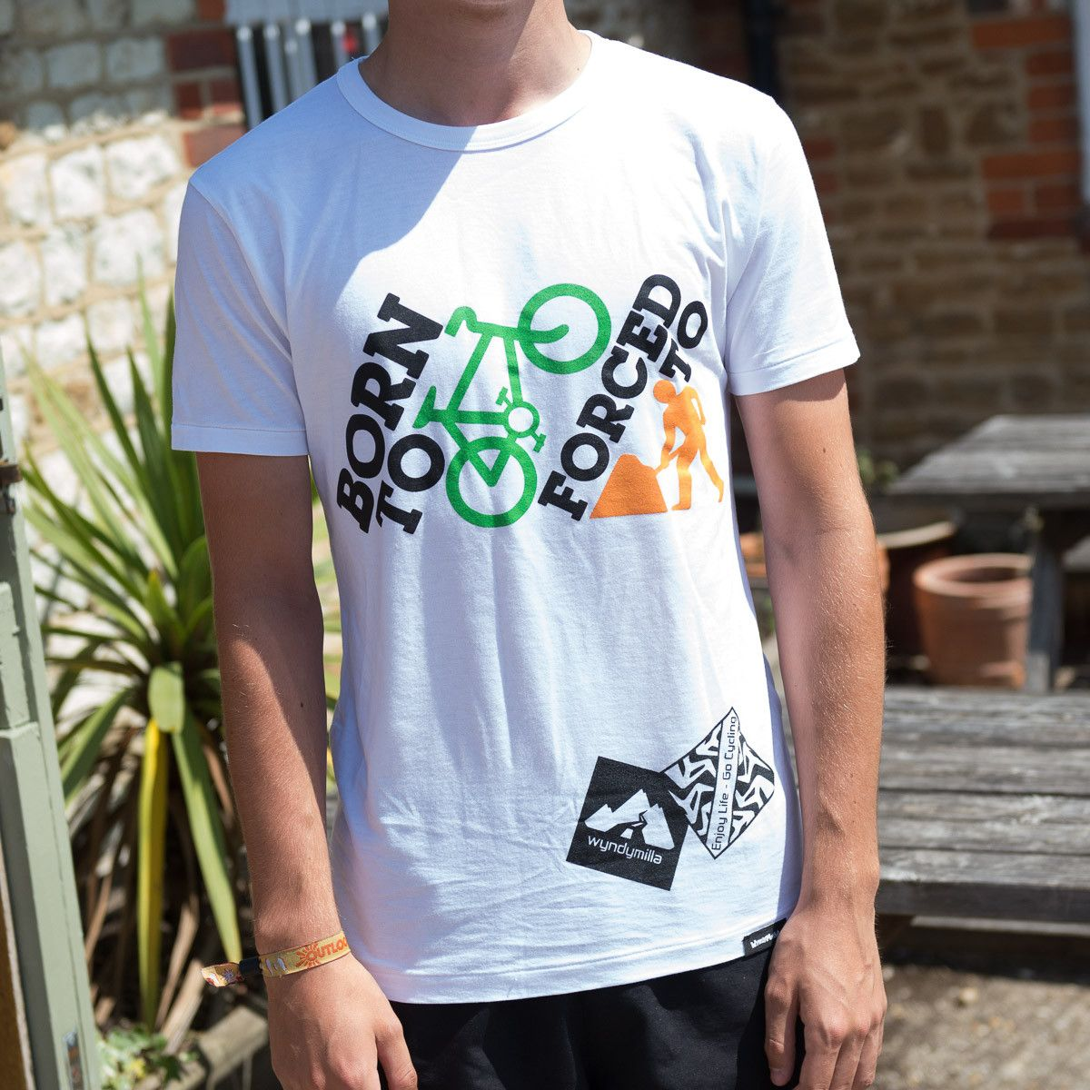 Born to Ride Forced to Work. Classic Fit Organic Bamboo T - White