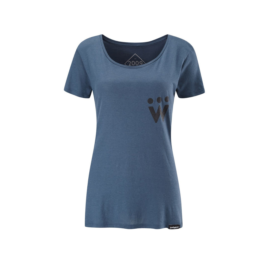 Enjoy Life Skull Bamboo T-Shirt - Womens Open Neck - Denim Blue