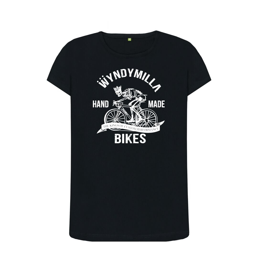 Black 'Skeleton Bike'  Inverted Crew Neck Top