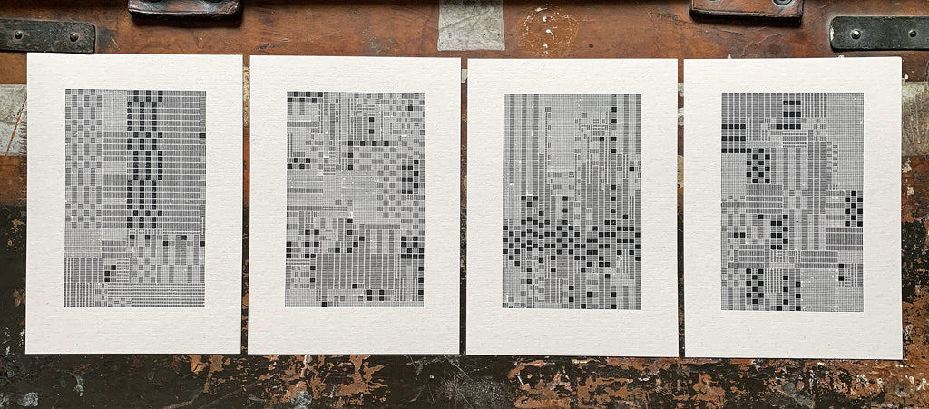 These Four Walls, a set of 4 letterpress prints in response to lockdown