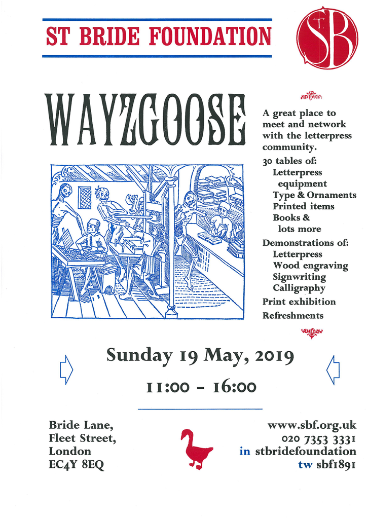St Brides Wayzgoose 2019 flyer