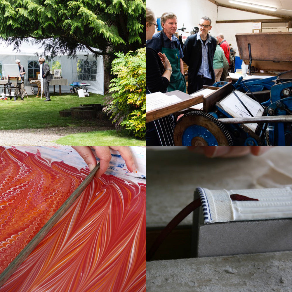 Letterpress printing, paper marbling and bookbinding demonstrations at the 2016 Book Day at The Grange