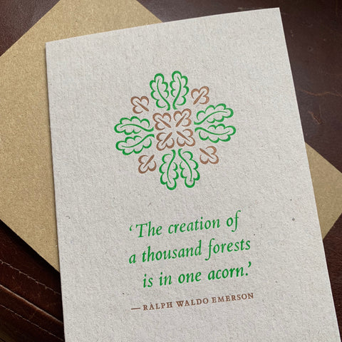 Oak leaf letterpress greetings card