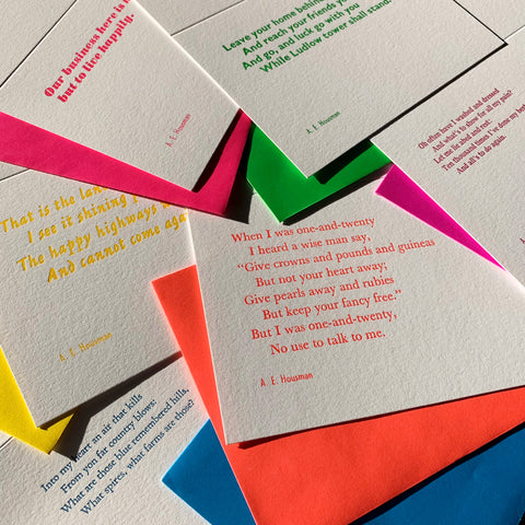 Set of 6 A. E. Housman letterpress poetry greetings cards