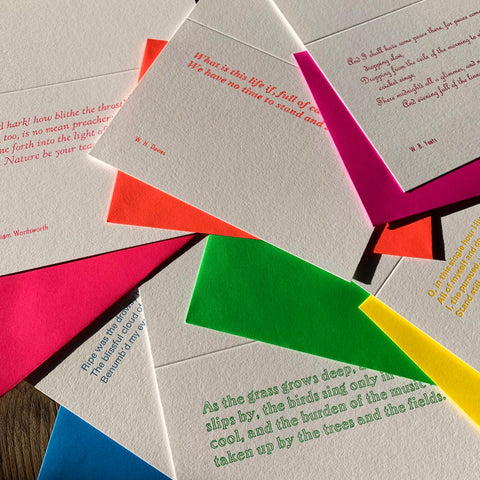 Set of 6 assorted letterpress poetry greetings cards