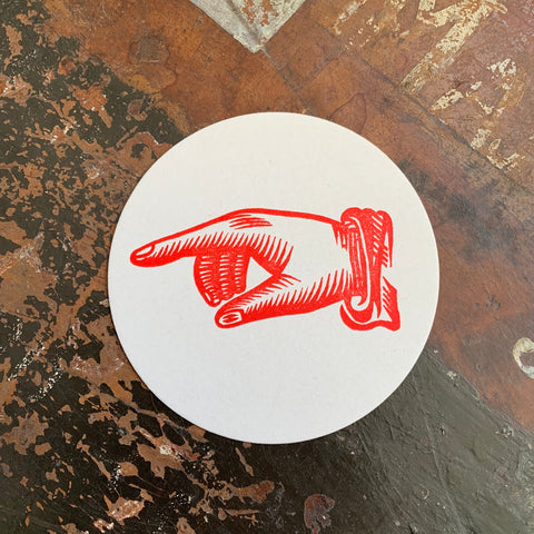 Printer's Fist letterpress coaster