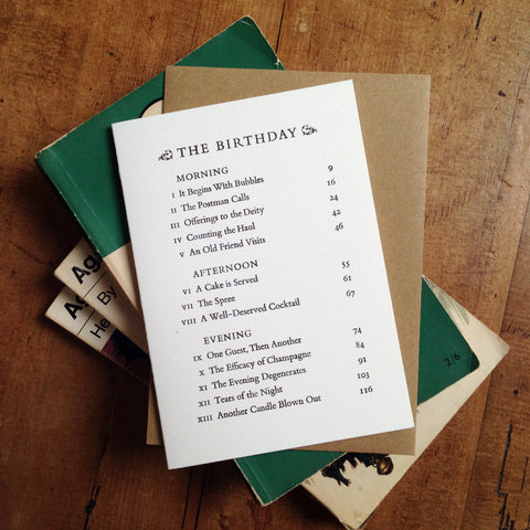The Birthday Contents Page letterpress greetings card
