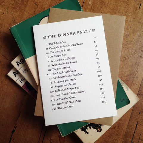 The Dinner Party Contents Page letterpress greetings card
