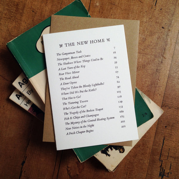 The New Home Contents Page letterpress greetings card