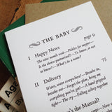 The Baby Contents Page letterpress greetings card