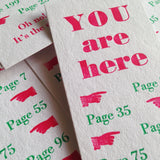 You Are Here letterpress bookmark