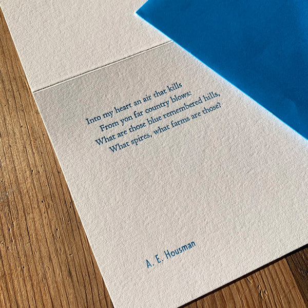 "A. E. Housman ""Hills"" letterpress poetry greetings card"