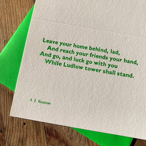 "A. E. Housman ""Go"" letterpress poetry greetings card"