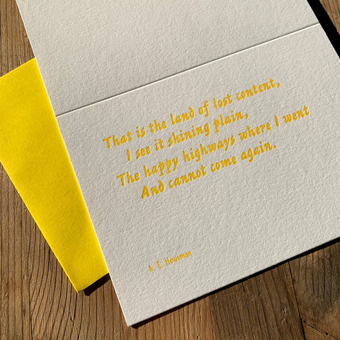 "A. E. Housman ""Land"" letterpress poetry greetings card"