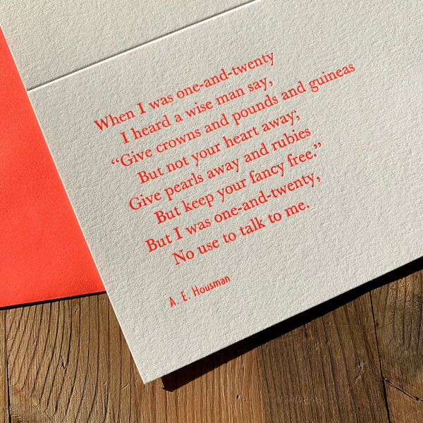 "A. E. Housman ""Wise"" letterpress poetry greetings card"