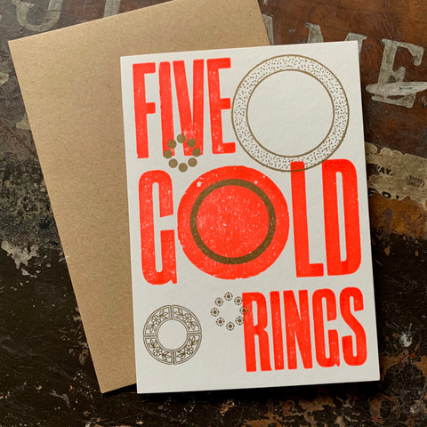 Five Gold Rings letterpress greetings card, rocket red
