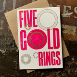 Five Gold Rings letterpress greetings card, violet
