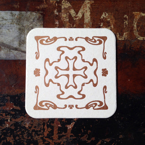 Art Nouveau cross pattern letterpress coaster, copper