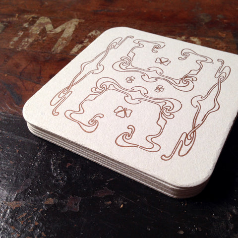 Art Nouveau panel pattern letterpress coaster, copper