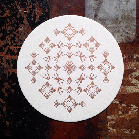 Glint ornament letterpress coaster, copper