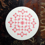 Glint ornament letterpress coaster, red