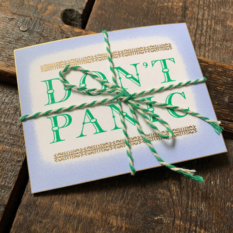 Don't Panic letterpress mini print
