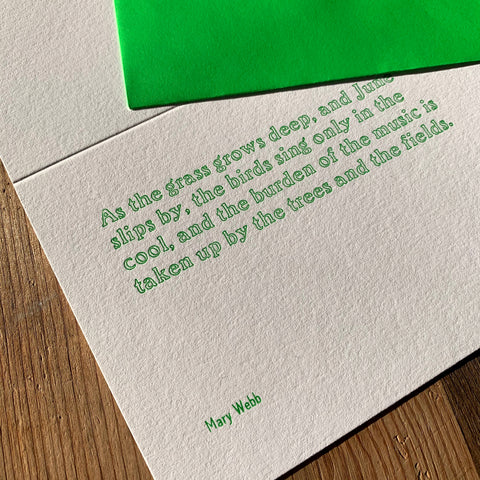 "Mary Webb ""Grass"" letterpress poetry greetings card"