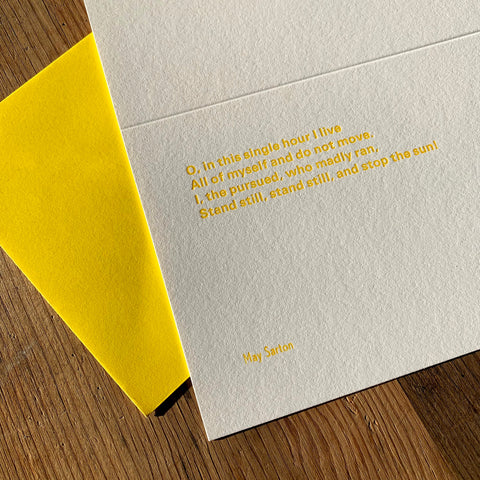 "May Sarton ""Sun"" letterpress poetry greetings card"