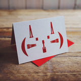 Miaow cat letterpress greetings card