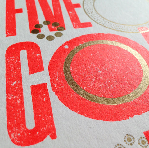 Five Gold Rings letterpress greetings card