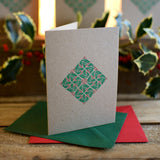 Holly letterpress greetings card