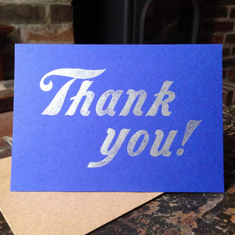 Thank you! script letterpress greetings card