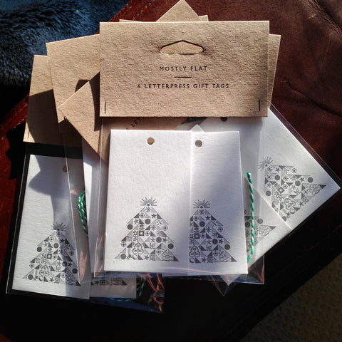 Ornamental Christmas Tree letterpress gift tags