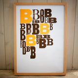 Orange B A3 limited edition letterpress print