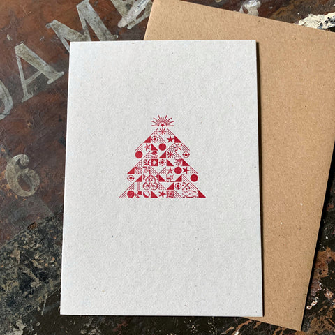 Ornamental Christmas Tree letterpress greetings card, red