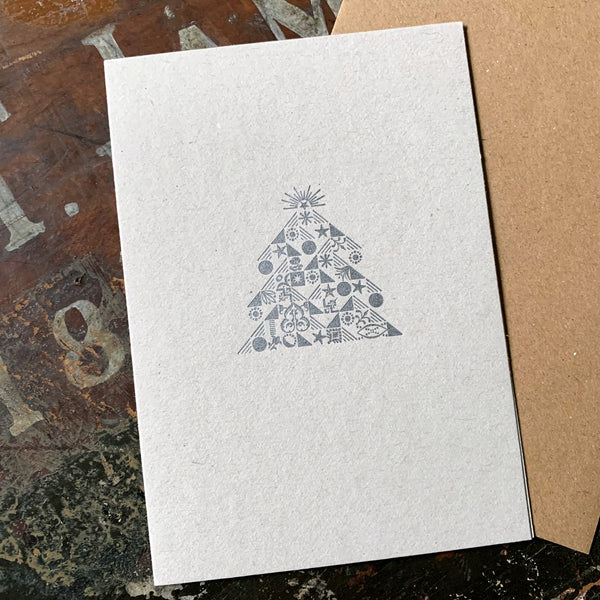 Ornamental Christmas Tree letterpress greetings card, silver