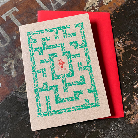 Santa Maze letterpress greetings card, brown