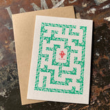 Santa Maze letterpress greetings card, grey