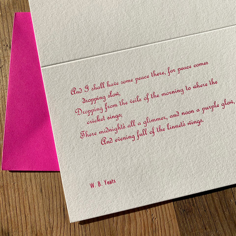 "W. B. Yeats ""Peace"" letterpress poetry greetings card"