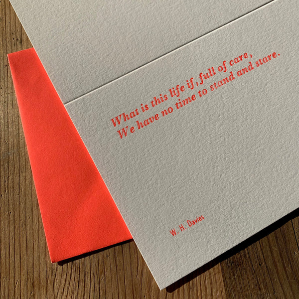 "W. H. Davies ""Life"" letterpress poetry greetings card"