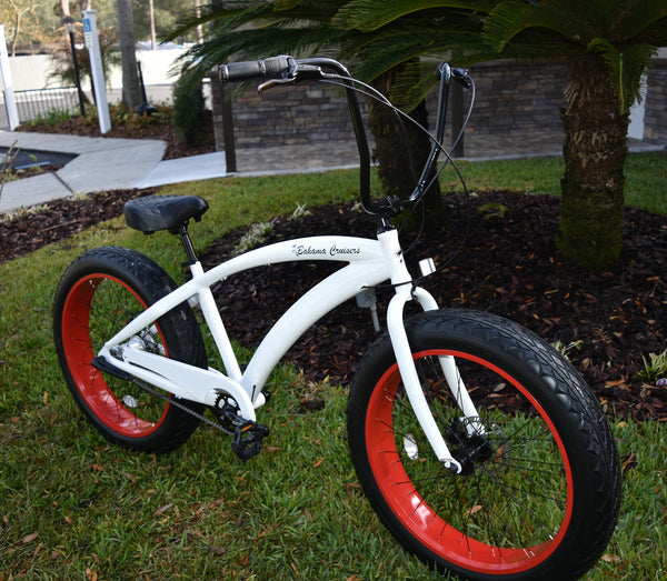 BAHAMA CRUISERS | NEW 3 Speed White Frame/Viper Red Wheels