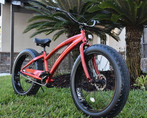3 SPEED BEACH CRUISERS BIKES | Candy Apple Red Frame/Black Wheels