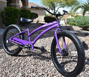 FAT TIRE CUSTOM BEACH CRUISER Purple Frame/Black Wheels
