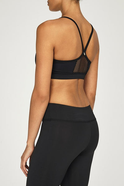 Chichi Active-Bra Top-JUJA Active-Halle Mesh Panel Bra Top - Black