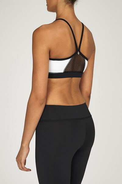 Chichi Active-Bra Top-JUJA Active-Halle Mesh Panel Bra Top - White