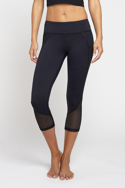 Chichi Active-Capri-JUJA Active-Demi Mesh Panel Capri - Black