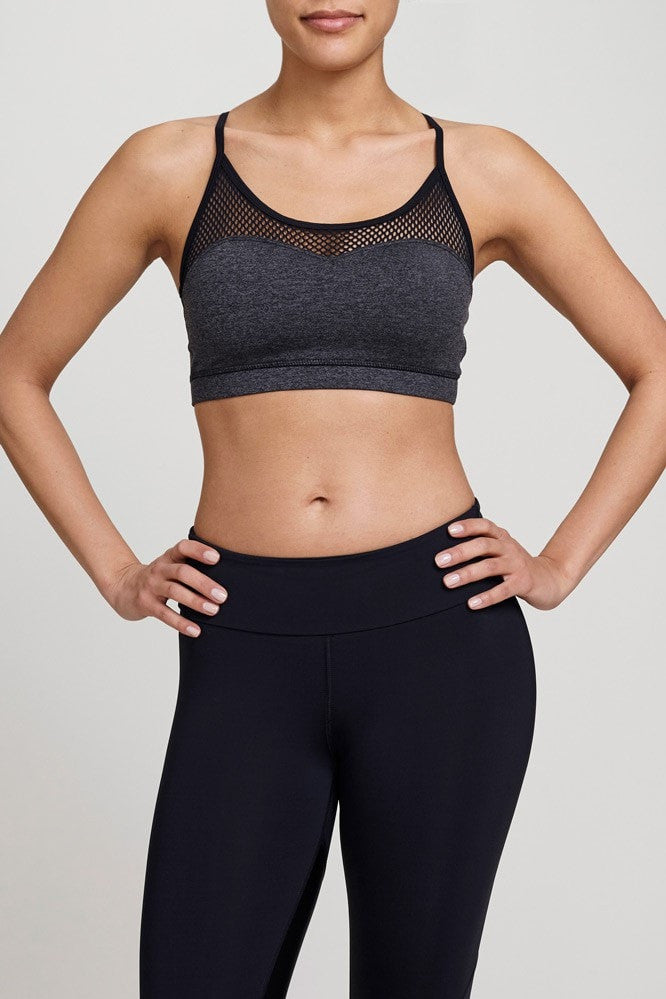 Chichi Active  Bra Top Halle Mesh Panel Bra Top - Charcoal/Black JUJA Active - 1