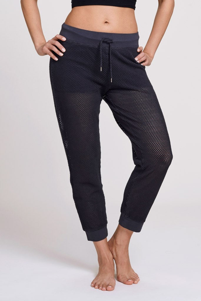 Electric & Rose-Sweatpant-JUJA Active-Panama Mesh Pant - Black Night