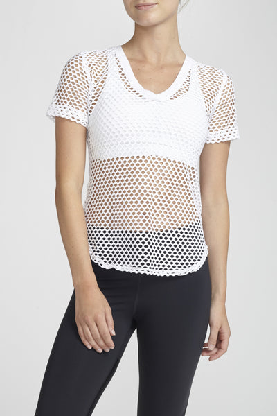 Haute Body-Short Sleeve Tee-JUJA Active-Favorite Mesh Tee - White