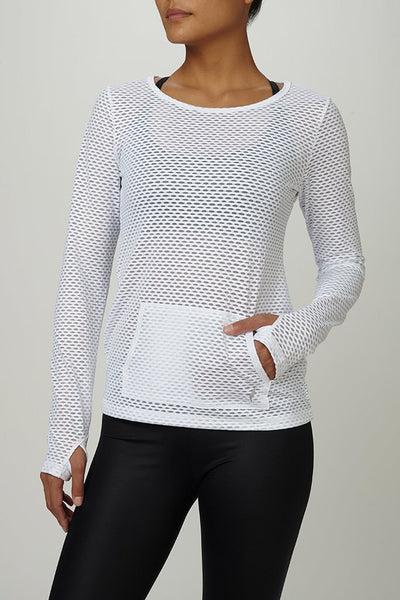 Pheel-Long Sleeved Tee-JUJA Active-Peekaboo Top - White